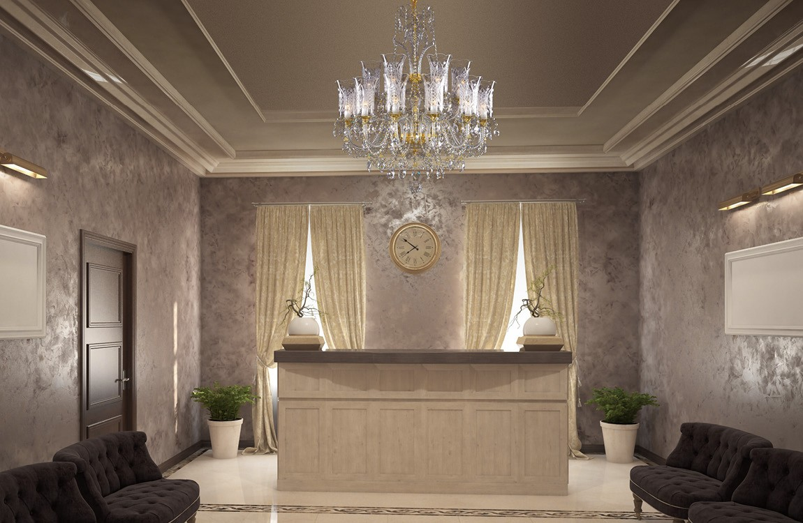 Chandelier in the hall of the house LLCH18Crystal-DT