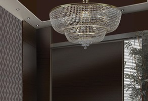 Ceiling Light crystal in a modern apartment