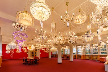 Showroom of crystal chandeliers in Czech Republic