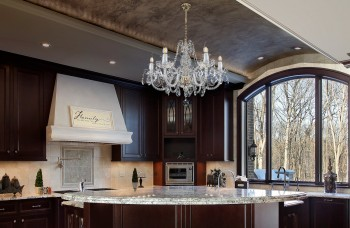 Classic chandelier with LED bulbs in the kitchen