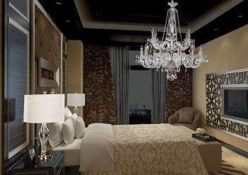 Table lamps and chandelier in bedroom