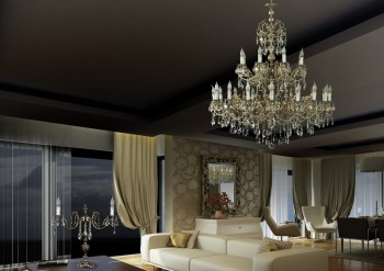 Large Brass chandelier in living room