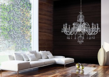 Modern crystal chandelier in the living room