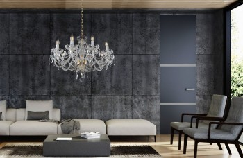 Classic crystal chandelier in living room