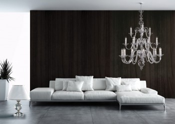Modern glass chandelier in the living room