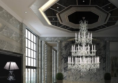 Long chandelier for staircase EL6185003