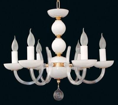 Glass chandelier EL422600 opal