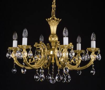 Brass chandelier with trimmings L09121CE