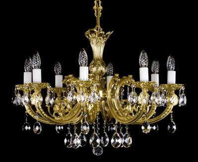 Brass chandelier with strass trimmings L09120CE