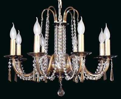 Glass chandelier golden brown EL210803Smoke