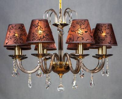 Chandelier with Shades golden brown EL210814